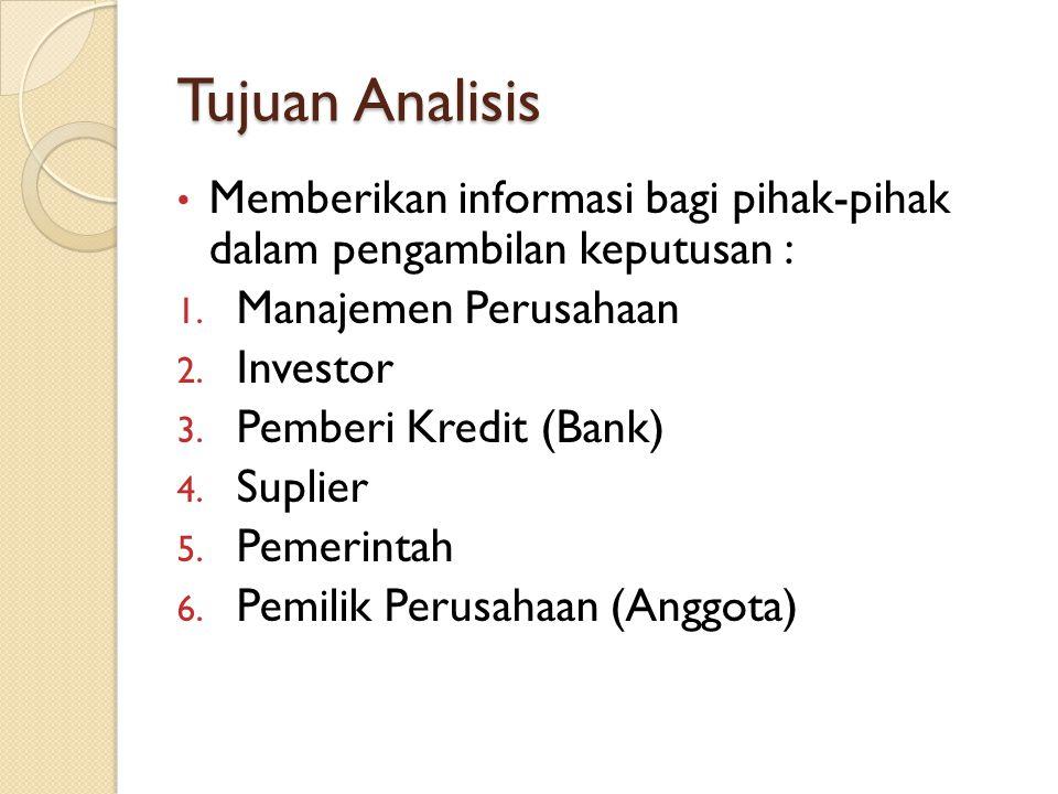 Tujuan Analisis Memberikan informasi bagi pihak-pihak dalam pengambilan keputusan : Manajemen Perusahaan.