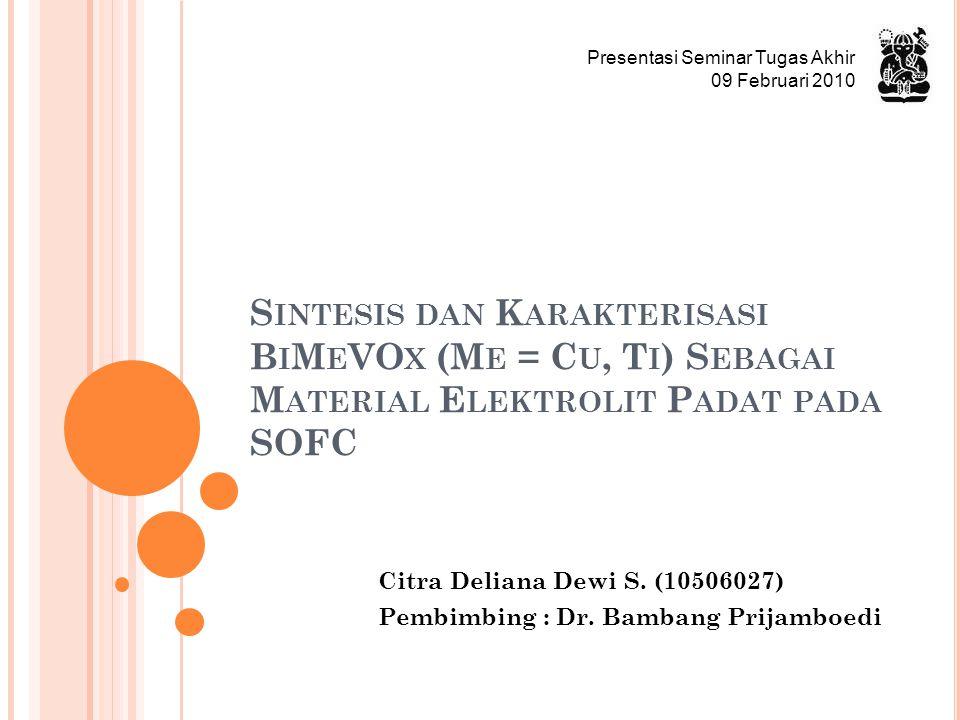 Citra Deliana Dewi S. (10506027) Pembimbing : Dr. Bambang Prijamboedi