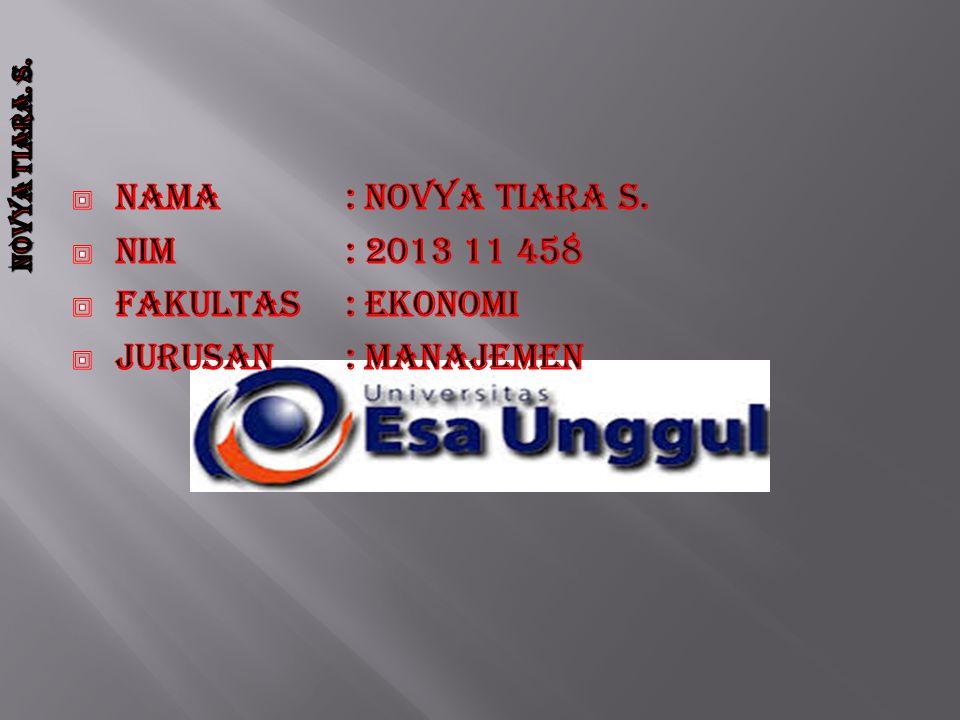 Nama : novya tiara s. Nim : 2013 11 458 Fakultas : ekonomi Jurusan : manajemen