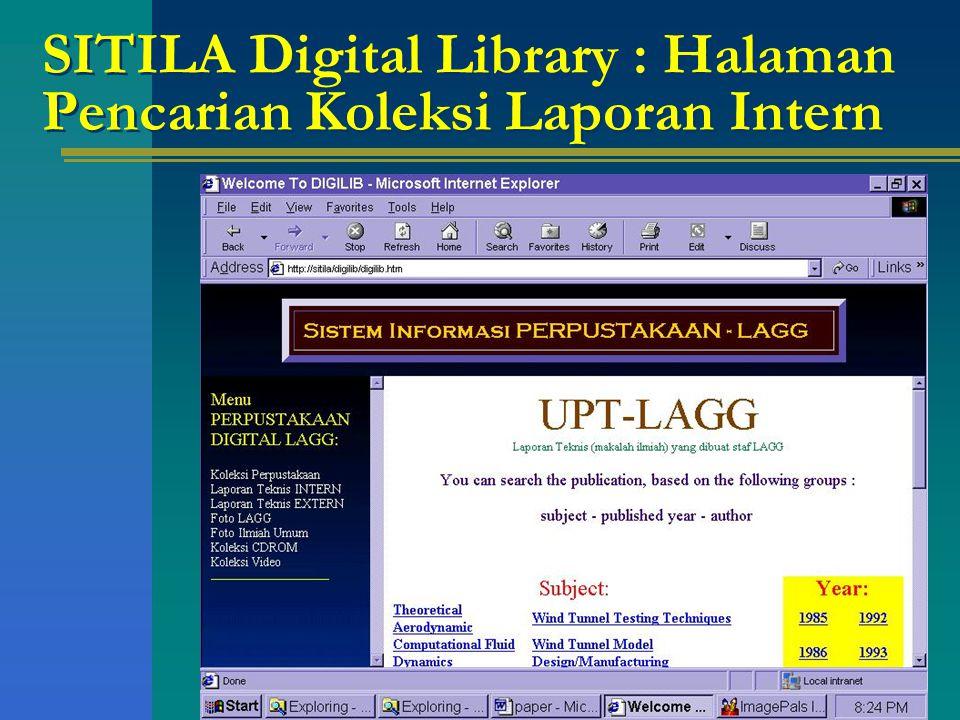 SITILA Digital Library : Halaman Pencarian Koleksi Laporan Intern