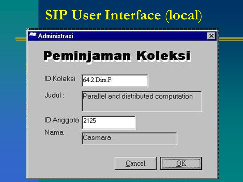 SIP User Interface (local)