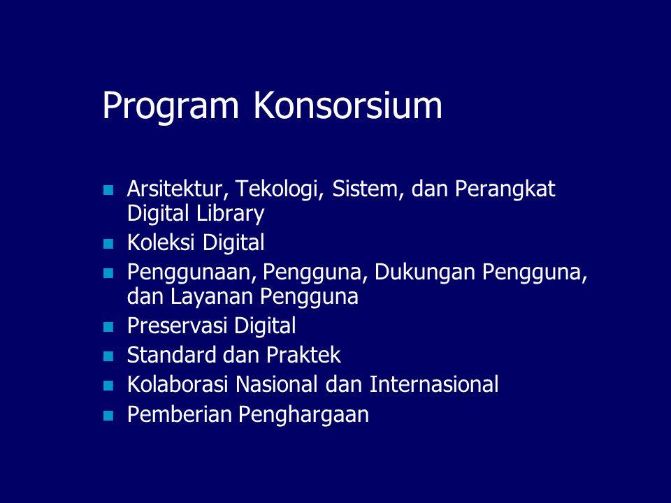 Program Konsorsium Arsitektur, Tekologi, Sistem, dan Perangkat Digital Library. Koleksi Digital.