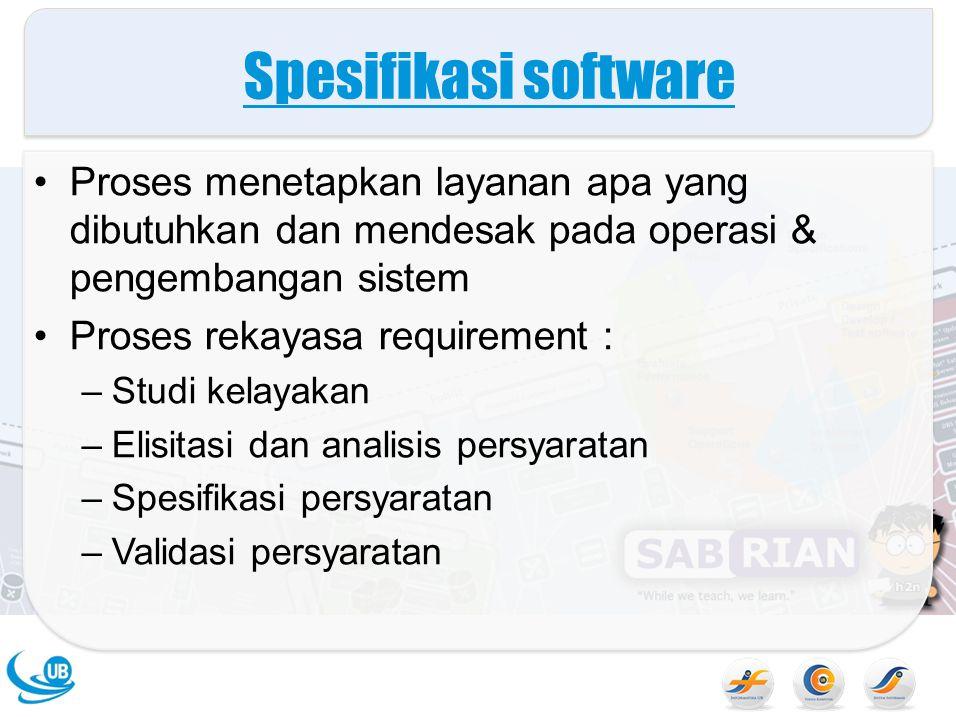 Spesifikasi software Proses menetapkan layanan apa yang dibutuhkan dan mendesak pada operasi & pengembangan sistem.