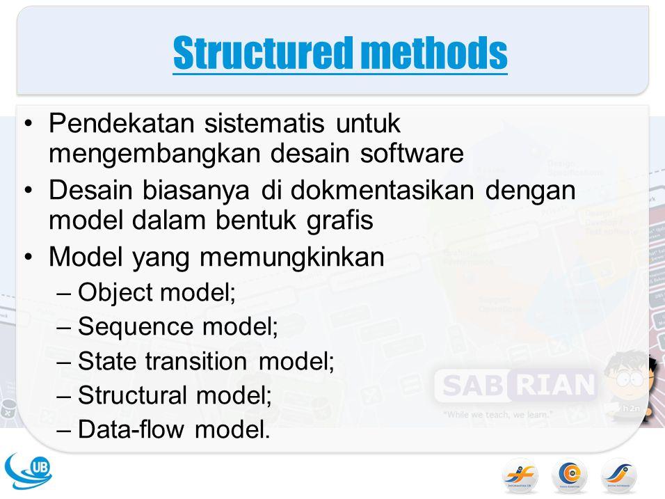 Structured methods Pendekatan sistematis untuk mengembangkan desain software. Desain biasanya di dokmentasikan dengan model dalam bentuk grafis.