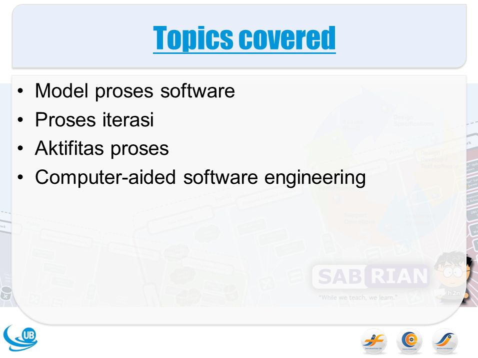 Topics covered Model proses software Proses iterasi Aktifitas proses