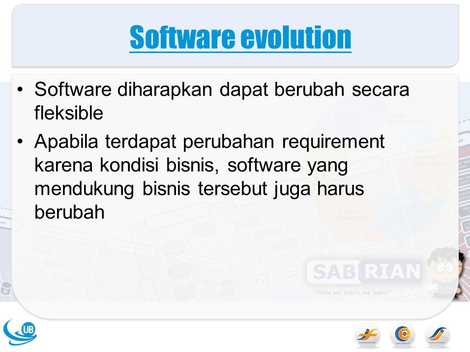 Software evolution Software diharapkan dapat berubah secara fleksible
