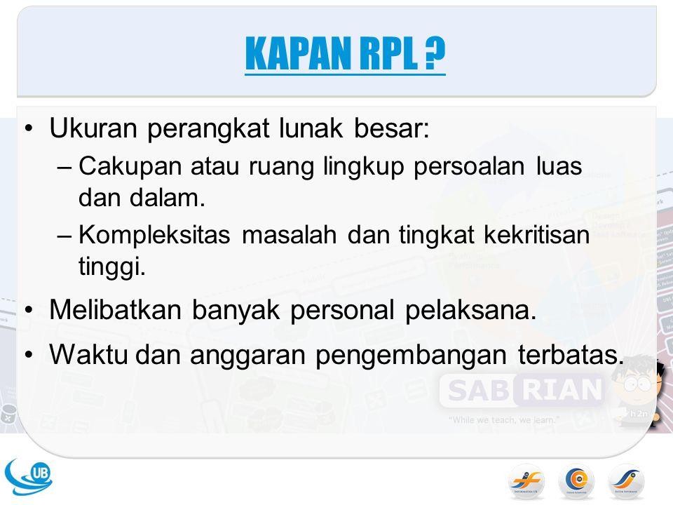 KAPAN RPL Ukuran perangkat lunak besar: