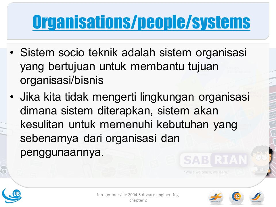 Organisations/people/systems