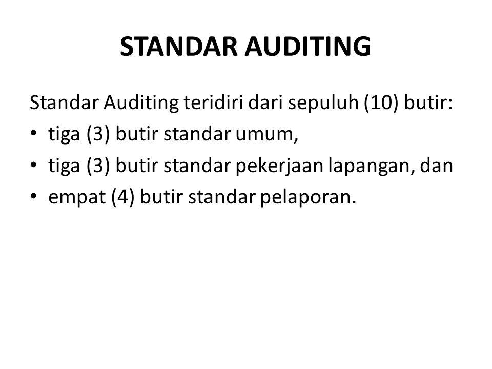 STANDAR AUDITING Standar Auditing teridiri dari sepuluh (10) butir: