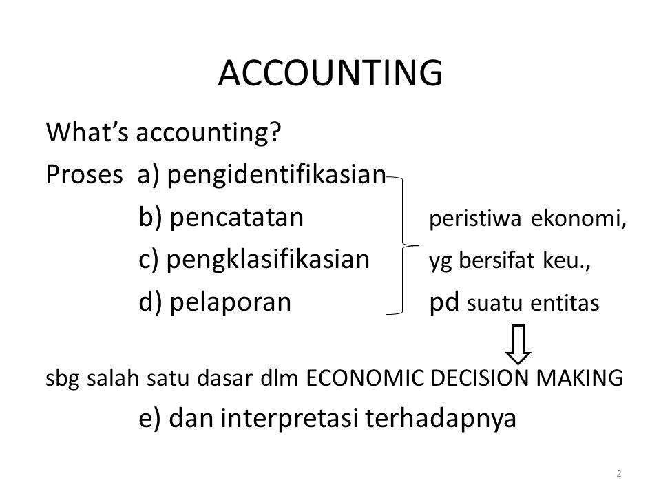 ACCOUNTING What's accounting Proses a) pengidentifikasian