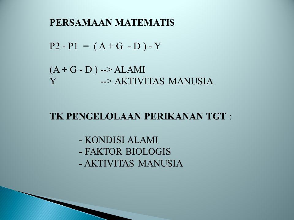 PERSAMAAN MATEMATIS P2 - P1 = ( A + G - D ) - Y. (A + G - D ) --> ALAMI. Y --> AKTIVITAS MANUSIA.
