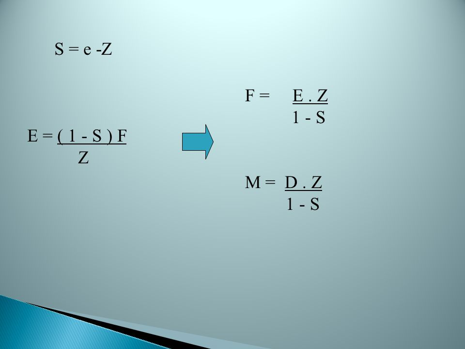 S = e -Z E = ( 1 - S ) F Z F = E . Z 1 - S M = D . Z