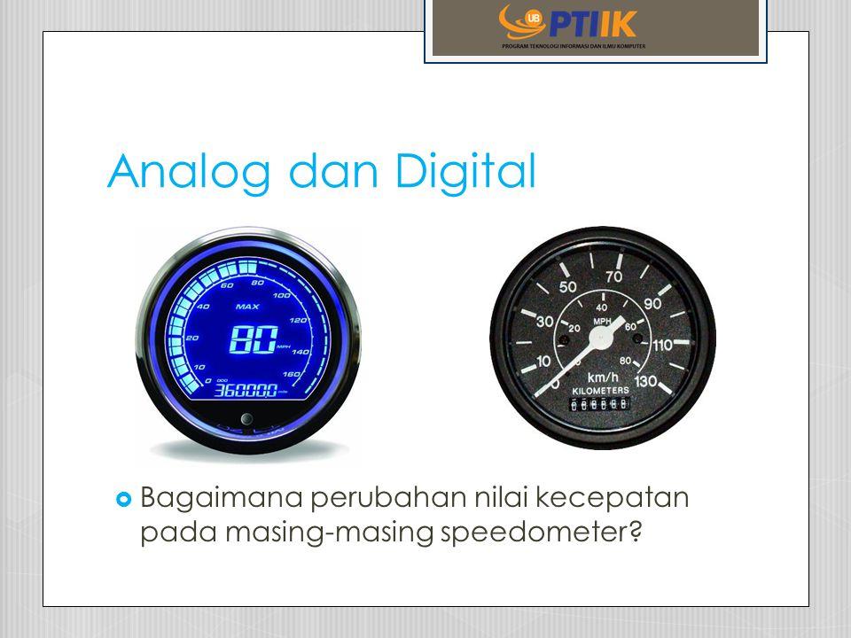 Analog dan Digital Bagaimana perubahan nilai kecepatan pada masing-masing speedometer