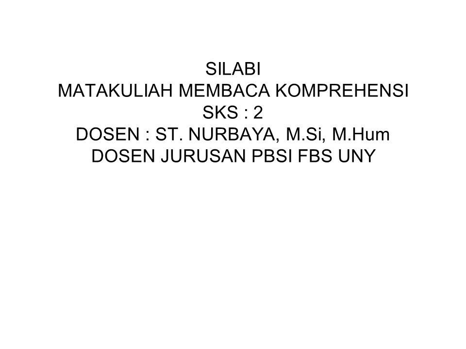 SILABI MATAKULIAH MEMBACA KOMPREHENSI SKS : 2 DOSEN : ST. NURBAYA, M