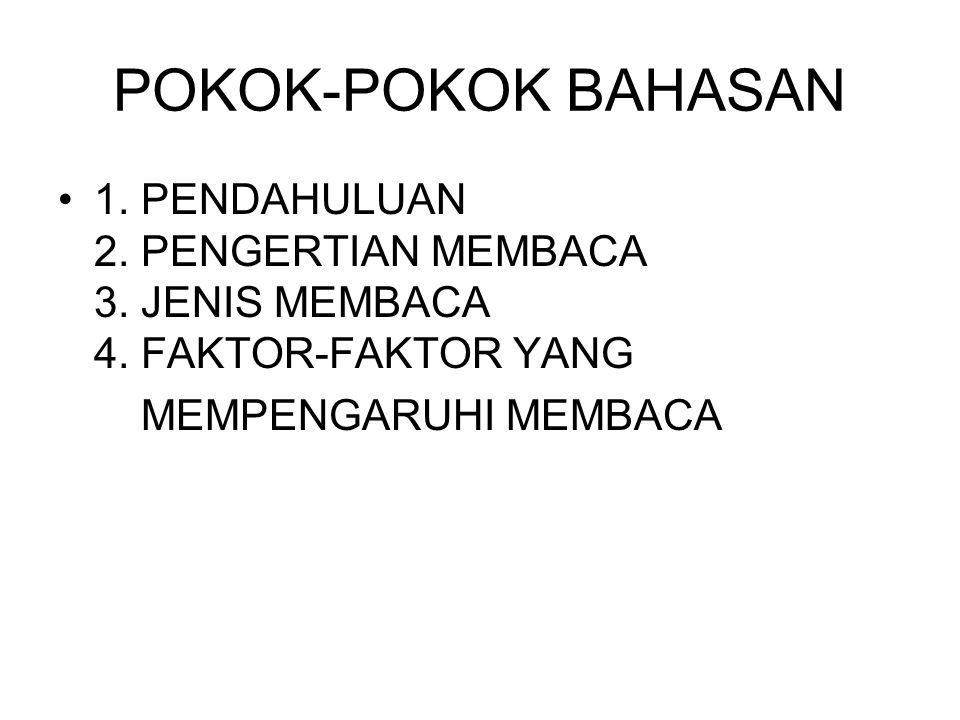 POKOK-POKOK BAHASAN 1. PENDAHULUAN 2. PENGERTIAN MEMBACA 3.