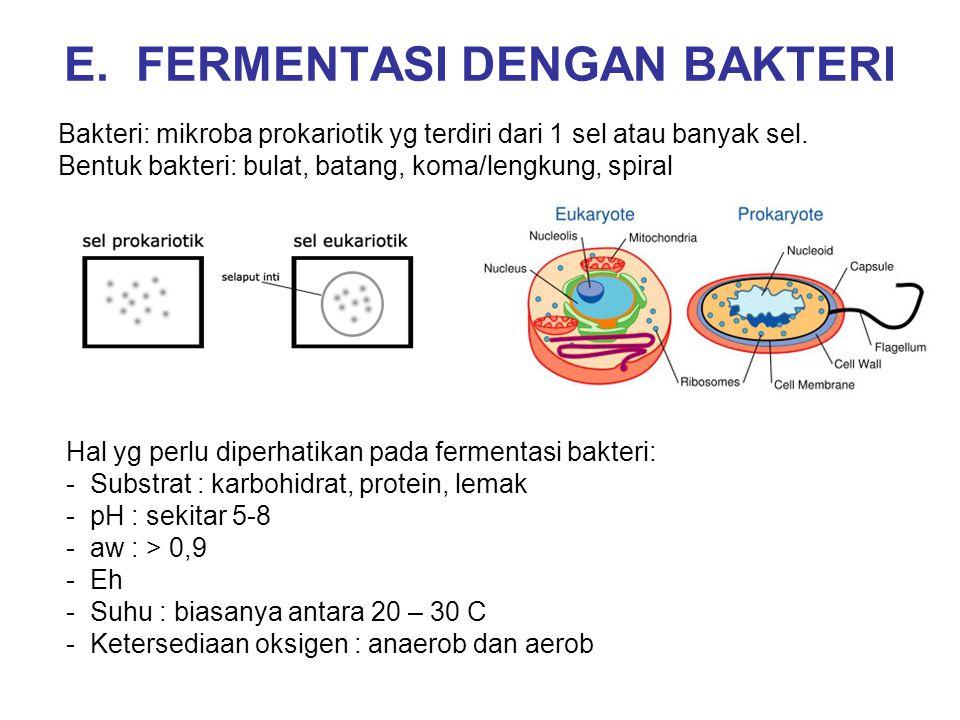 E. FERMENTASI DENGAN BAKTERI