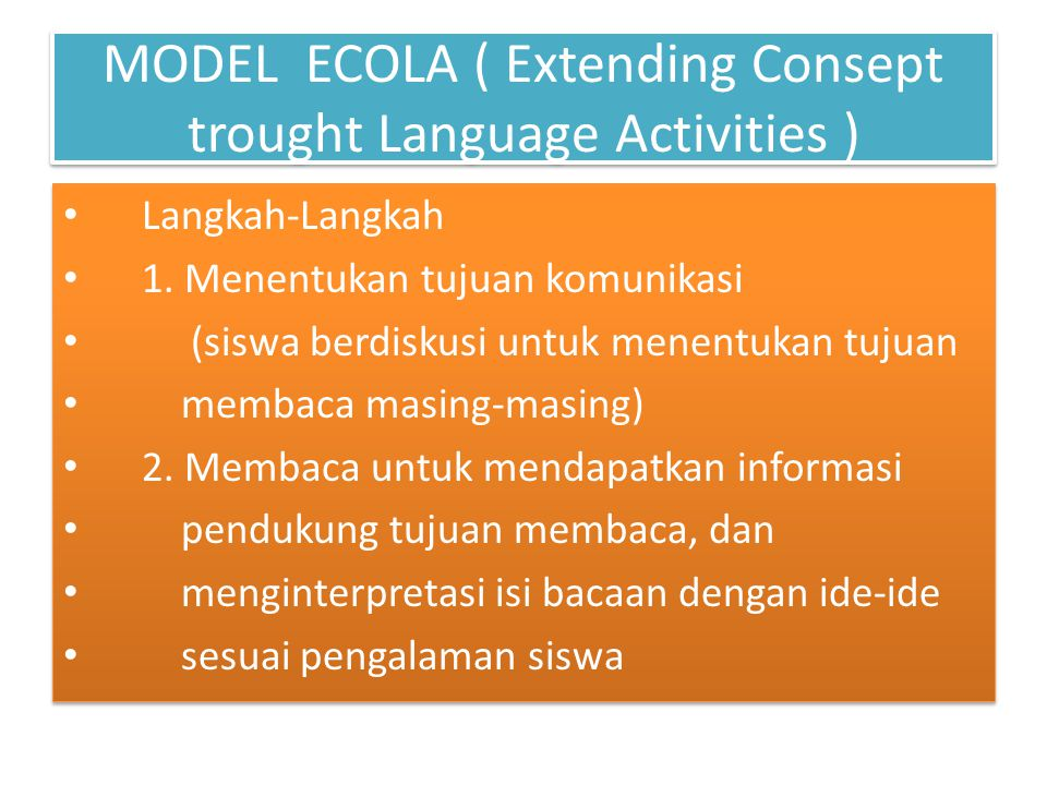 MODEL ECOLA ( Extending Consept trought Language Activities )