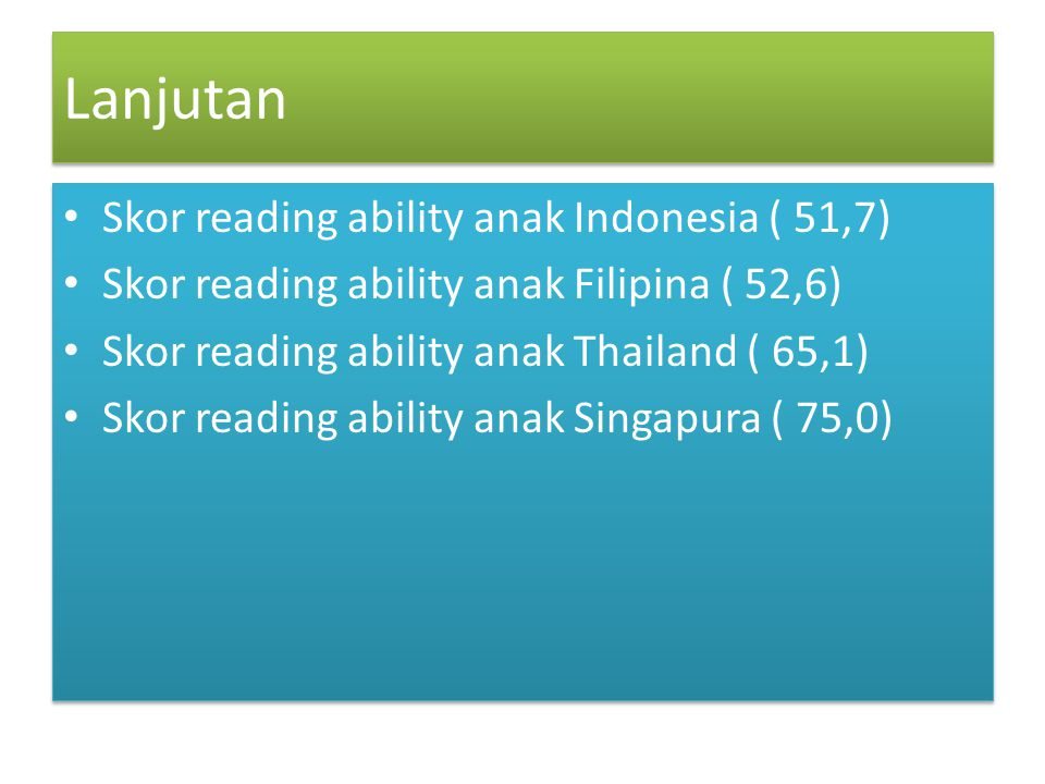 Lanjutan Skor reading ability anak Indonesia ( 51,7)