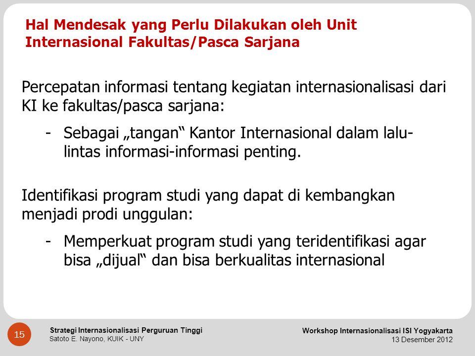 Hal Mendesak yang Perlu Dilakukan oleh Unit Internasional Fakultas/Pasca Sarjana