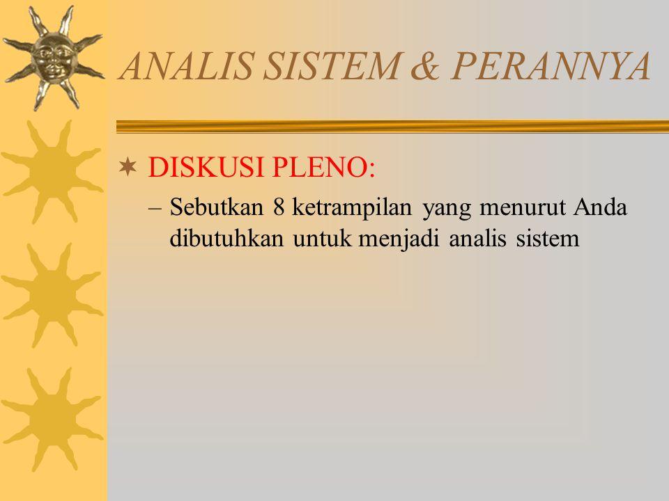 ANALIS SISTEM & PERANNYA