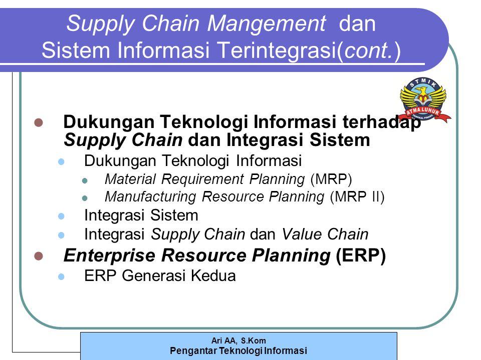 Supply Chain Mangement dan Sistem Informasi Terintegrasi(cont.)