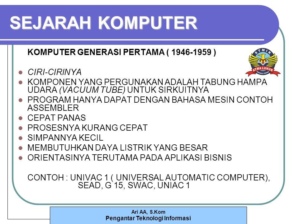 SEJARAH KOMPUTER KOMPUTER GENERASI PERTAMA ( 1946-1959 ) CIRI-CIRINYA