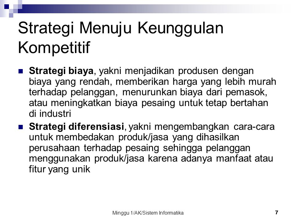 Strategi Menuju Keunggulan Kompetitif