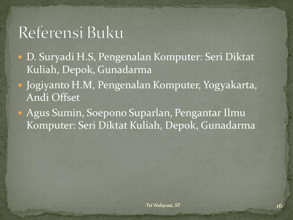 Referensi Buku D. Suryadi H.S, Pengenalan Komputer: Seri Diktat Kuliah, Depok, Gunadarma.