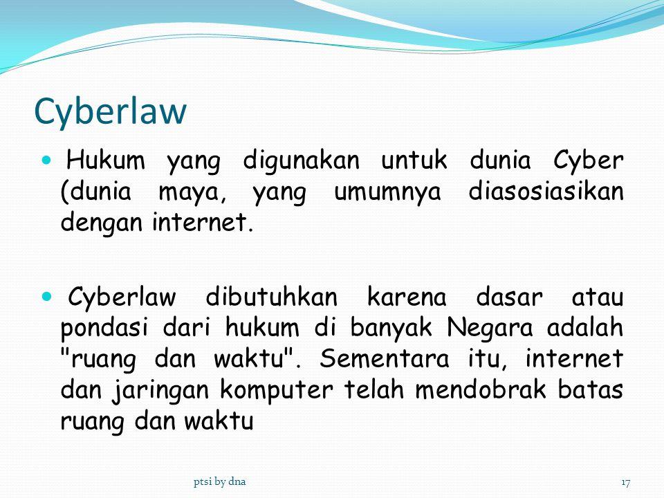 Cyberlaw Hukum yang digunakan untuk dunia Cyber (dunia maya, yang umumnya diasosiasikan dengan internet.