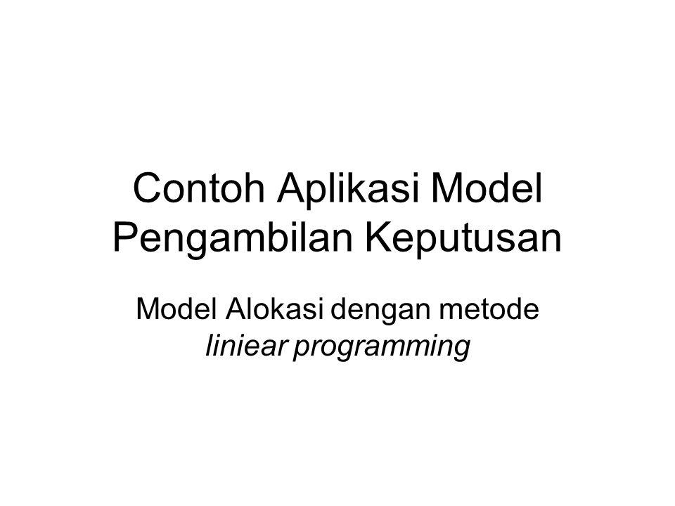 Contoh Aplikasi Model Pengambilan Keputusan