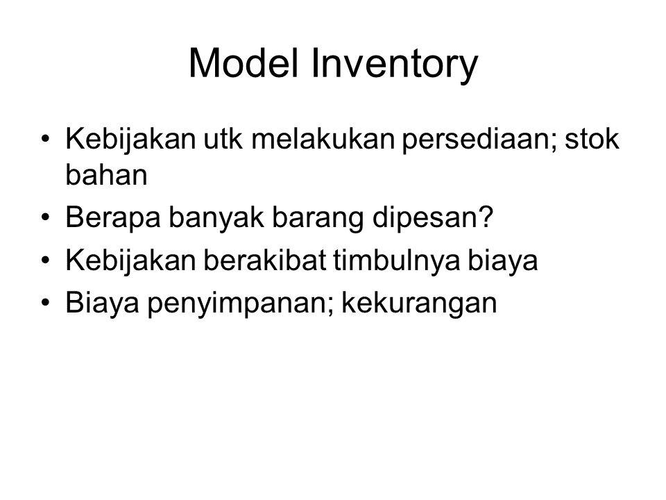 Model Inventory Kebijakan utk melakukan persediaan; stok bahan