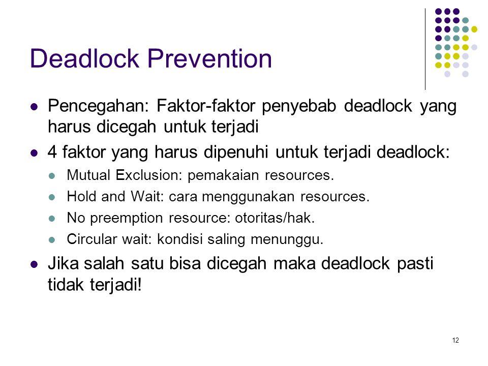Deadlock Prevention Pencegahan: Faktor-faktor penyebab deadlock yang harus dicegah untuk terjadi.