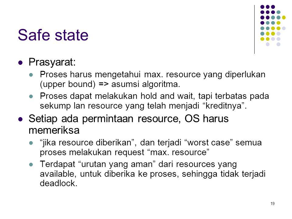 Safe state Prasyarat: Proses harus mengetahui max. resource yang diperlukan (upper bound) => asumsi algoritma.