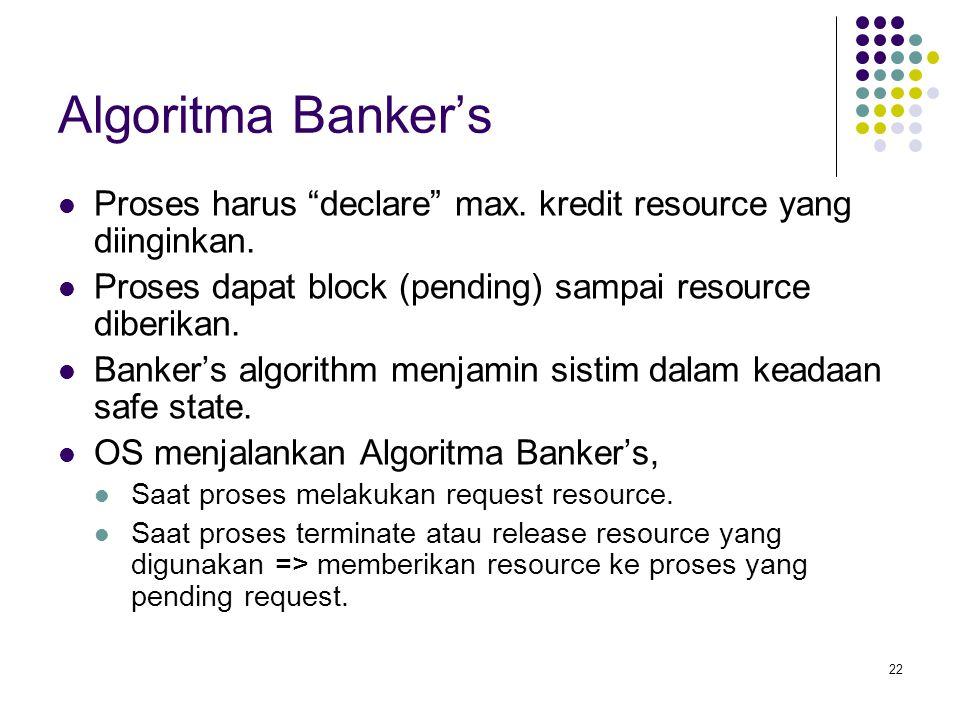 Algoritma Banker's Proses harus declare max. kredit resource yang diinginkan. Proses dapat block (pending) sampai resource diberikan.