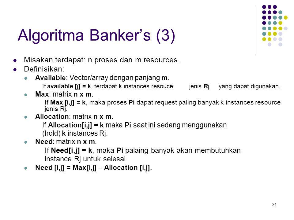 Algoritma Banker's (3) Misakan terdapat: n proses dan m resources.