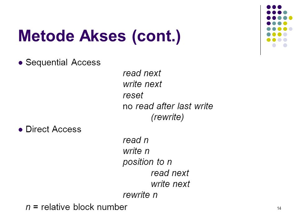 Metode Akses (cont.) Sequential Access read next write next reset