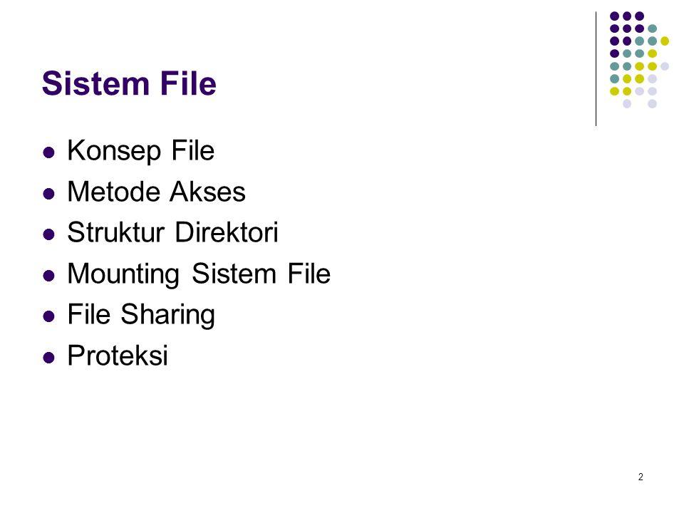 Sistem File Konsep File Metode Akses Struktur Direktori