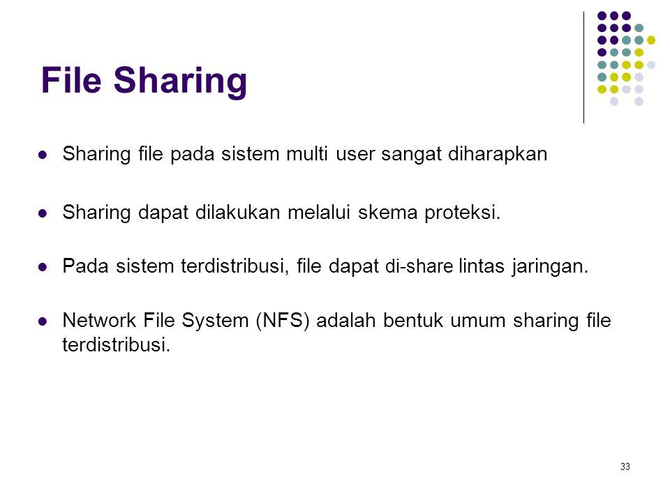 File Sharing Sharing file pada sistem multi user sangat diharapkan