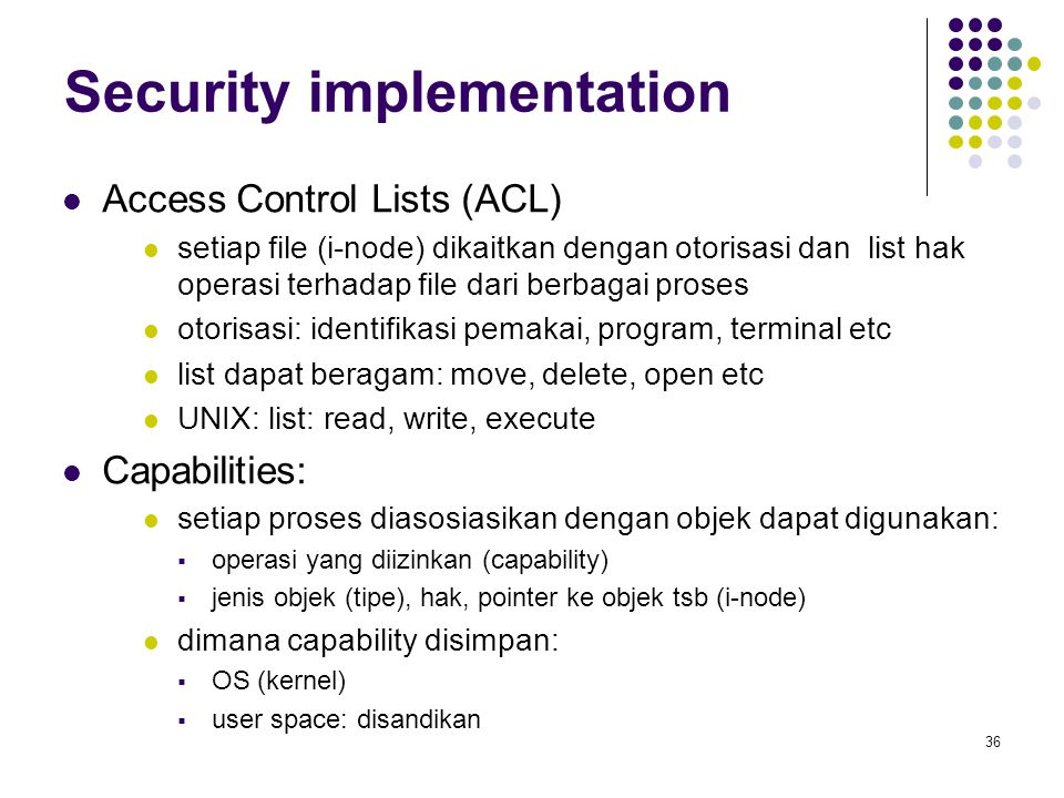 Security implementation