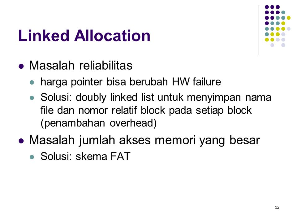 Linked Allocation Masalah reliabilitas