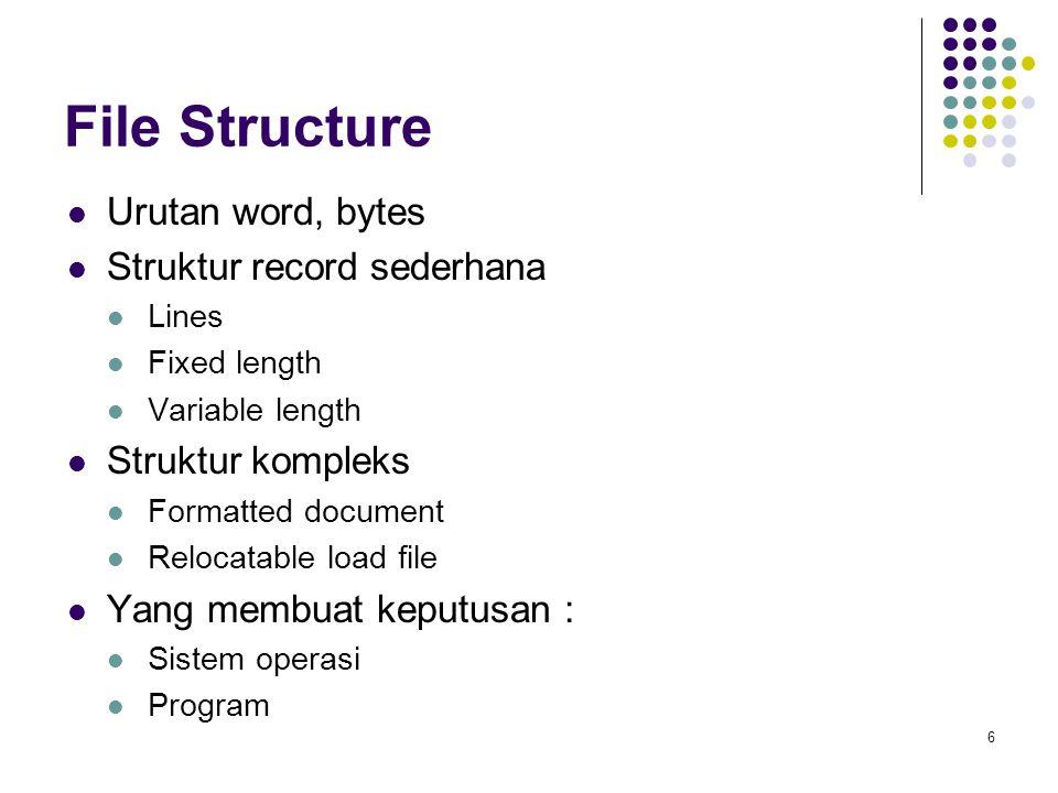 File Structure Urutan word, bytes Struktur record sederhana