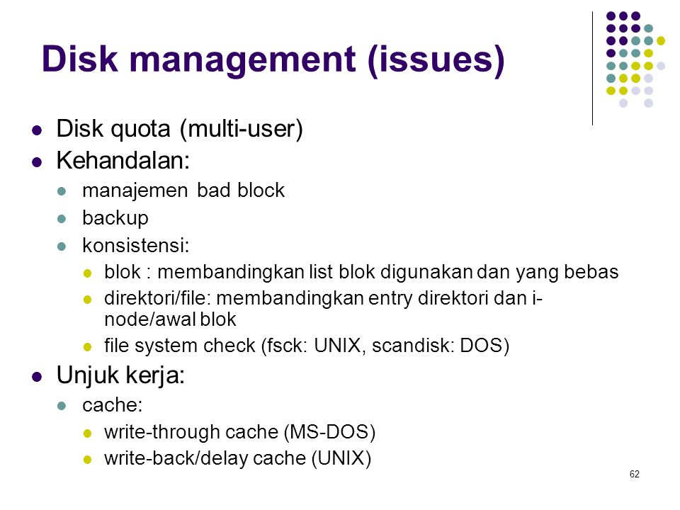 Disk management (issues)