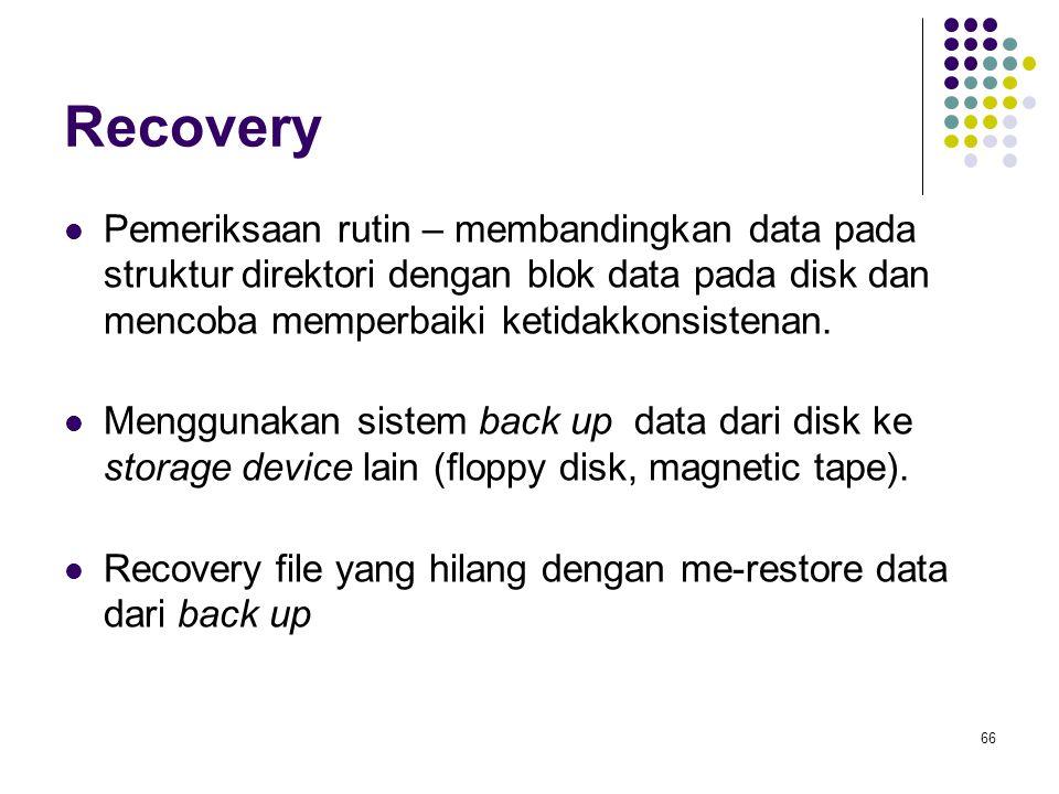 Recovery Pemeriksaan rutin – membandingkan data pada struktur direktori dengan blok data pada disk dan mencoba memperbaiki ketidakkonsistenan.
