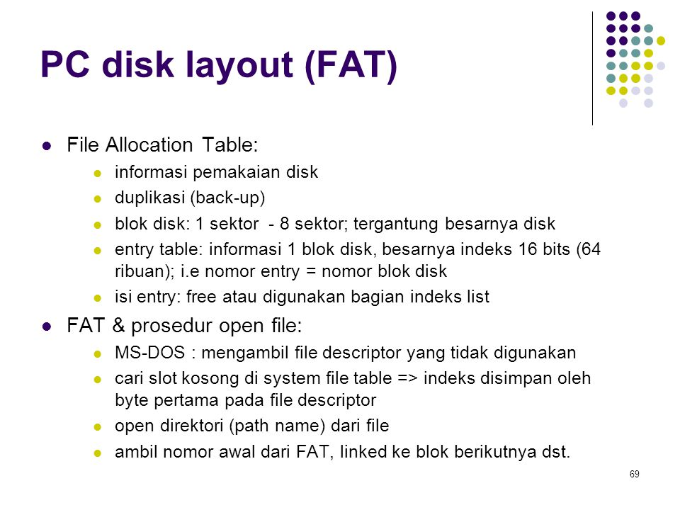 PC disk layout (FAT) File Allocation Table: FAT & prosedur open file: