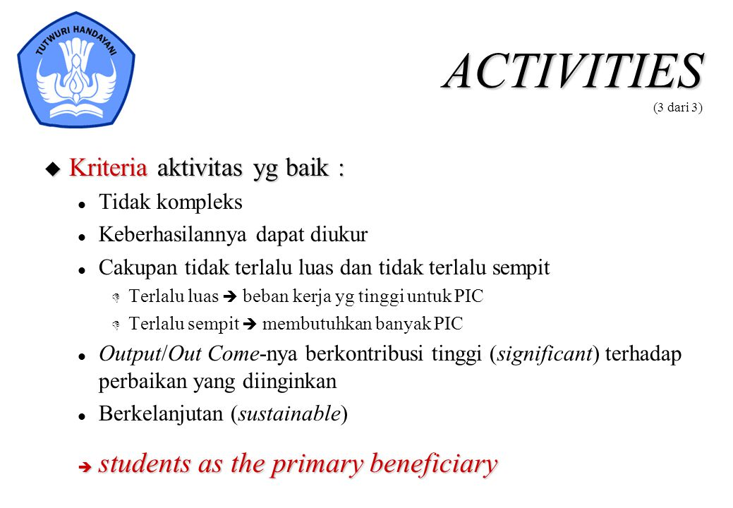 ACTIVITIES (3 dari 3) students as the primary beneficiary