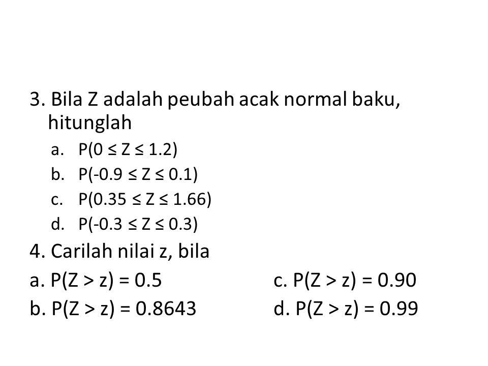 3. Bila Z adalah peubah acak normal baku, hitunglah