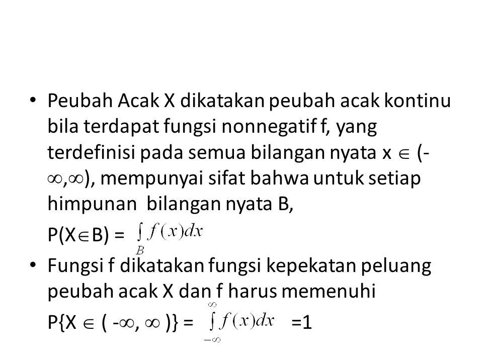 Peubah Acak X dikatakan peubah acak kontinu bila terdapat fungsi nonnegatif f, yang terdefinisi pada semua bilangan nyata x  (-,), mempunyai sifat bahwa untuk setiap himpunan bilangan nyata B,