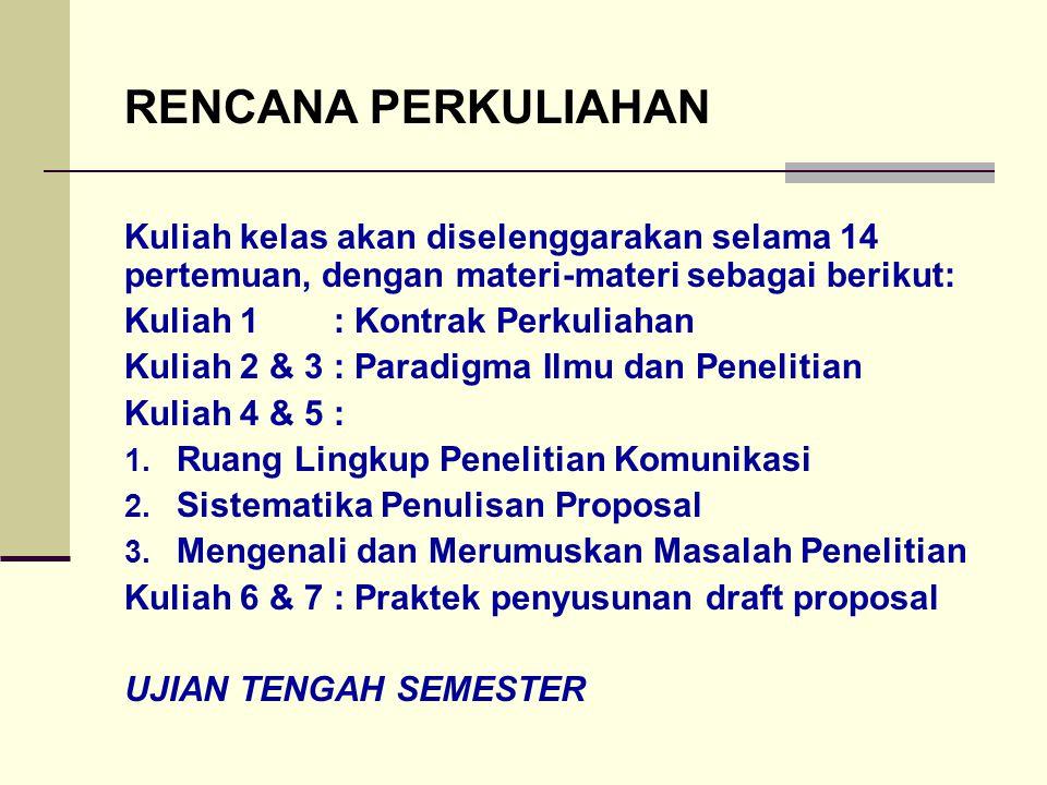 RENCANA PERKULIAHAN Kuliah kelas akan diselenggarakan selama 14 pertemuan, dengan materi-materi sebagai berikut: