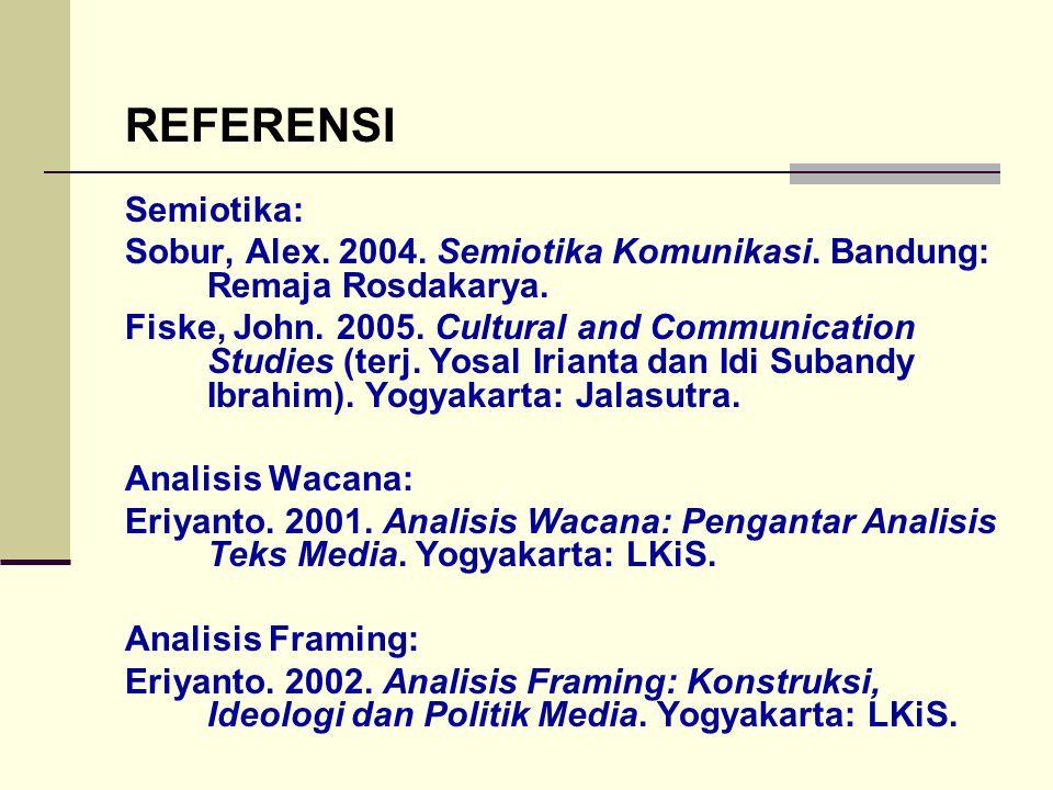 REFERENSI Semiotika: Sobur, Alex. 2004. Semiotika Komunikasi. Bandung: Remaja Rosdakarya.