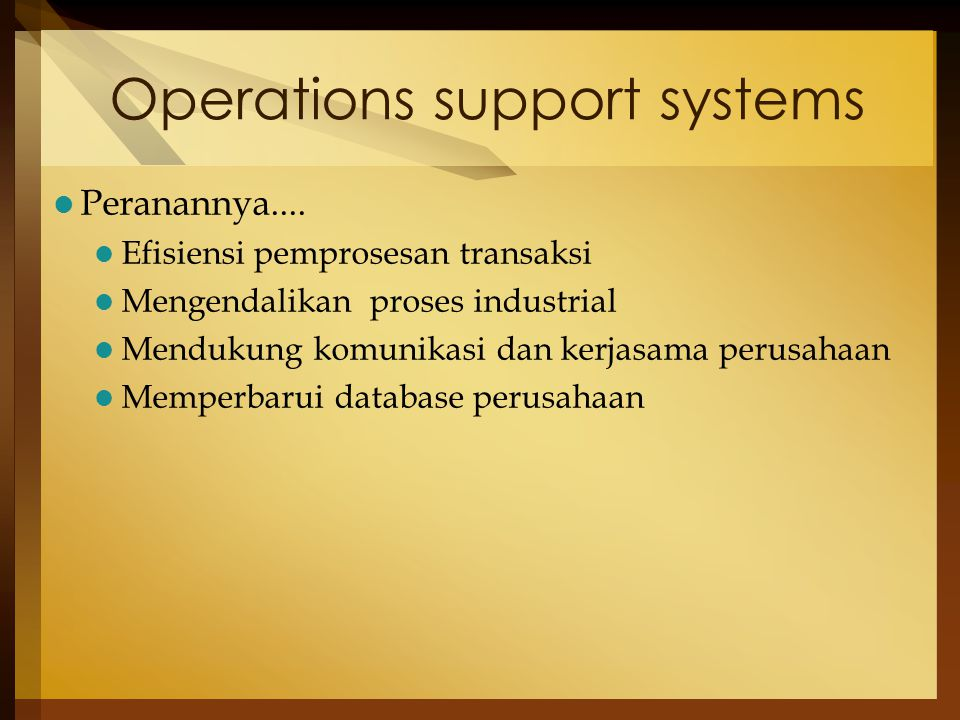 Operations support systems